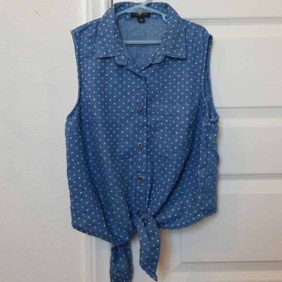 Tops - Short sleeved denim button up